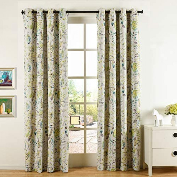 Window Curtains, 2 Panels Cosics 52 Inch Wide Room Darkening Window Treatment, Grommet Green Curtain Drapes, Floral print