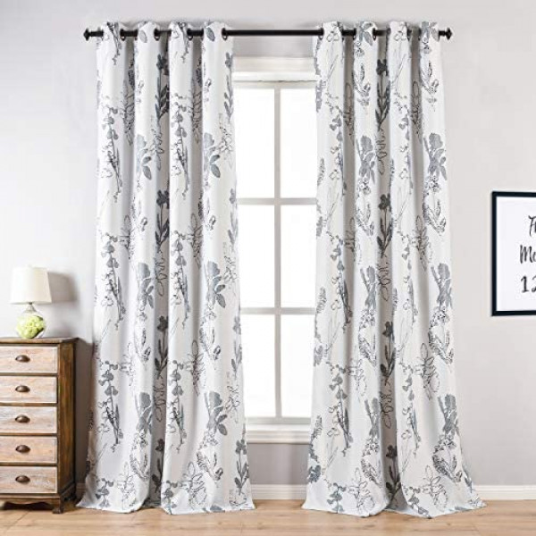 Window Curtains for Bedroom Living Room, 2PCS Coiscs Room Darkening Blackout Curtains, Elegant White Window Treatment , Floral Print