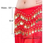Belly Dancing Hip Scarf, 10pcs Cosics 128 Dangling Gold Coins Red Dance Skirt Costume for Women Teen Girl, Halloween Tribal Wrap Belt