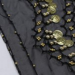 Hip Scarf Black, Cosics 10PCS 128-Gold Coins Tribal Chiffon Women Belly Dance Skirt, Indian Dance Golden Sequin Waist Scarves Wrap Belt for Dancing Performance, Halloween Costume