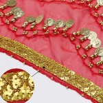 Belly Dance Hip Scarf, 10PCS Cosics Chiffon Dance Skirt for Women Belly Dancing, 128-Gold Coins Gold Waistband Wrap Belt Sequins Waist Chain for Halloween Performance Costumes
