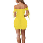 Club Dresses for Women, Cosics Sexy Hollow out Deep V Neck Pleated Yellow Cocktail Party Night Dress