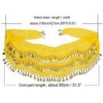 Women's Belly Dance Hip Scarf Wrap Belt, 10PCS Cosics Yellow Chiffon Dangling Hip Skirt Waist Chain, Gold Coins Dance Skirt Hip Scarves for Halloween Costume Zumba