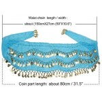 Dance Hip Scarf Shawl, Cosics 10PCS Blue Gold Coins Belly Dancing Scarf Wrap Belt, Chiffon Triangle Dangling Hip Skirt Waist Chain for Halloween Costume, Swimsuit Cover