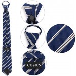 Zipper Ties for Men, Cosics Navy & White Striped Adjustable Pre Tied Zip Up Neck Tie for Birthday, Christmas, Valentine's Day Gift