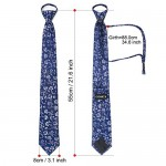 Zip Up Tie, Cosics Men's Boys Silk Navy Blue Pre Tied Neck Tie Paisley Pattern Extra Long 21.5in Necktie
