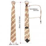 Zipper Ties for Men Extra Long, Cosics Mens Comfortable Stripe Pretied Neck Tie Beige