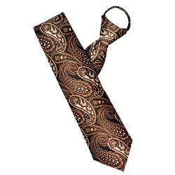 Pretied Ties, Cosics 21.5 Inch Long Men's Classic Paisley Solid Zipper Ties, Wedding Formal Easy Neck Tie