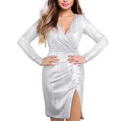Mini Party Dress, One Piece Cosics Deep V Neck Women's Sexy Sparkle Glitter Bodycon Side Split White Cocktail Party Club Dresses