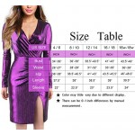 Sparkle Dresses for Women, Cosics V Neck Bodycon Ruched Glitter Split Pencil Dress with Long Sleeve, Purple Party Club Wedding Outfit