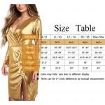 Gold Dresses for Women, Cosics Women's Sexy Deep V Neck Side Split Metallic Glitter Sparkle Dress, Cocktail Party Club Wear