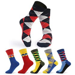 Dress Socks for Men Funny, 6-Pack Cosics Novelty Cotton Fashion Patterned Argyle Socks for Business Casual Wedding