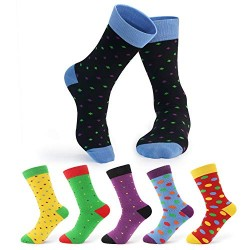 Dress Socks Funky, 6 Pack Cosics Colorful Polka Dot Patterned Cotton Socks for Men Crew with, Shoe Size 6-12