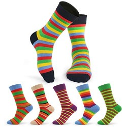 Mens Colorful Socks, Cosics 6 Pairs Striped Funky Patterned Dress Socks for Men, Novelty Sock for Size 6-12 Shoe