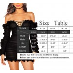 Black Mini Dress, Cosics Sexy Long Sleeve Tight Dresses for Women, Lace up V Neck Cocktail Party Clubwear