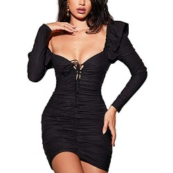 Tight Dress Long Sleeve, Cosics Black Lace Up Off Shoulder Bodycon Dresses for Women, Sexy Party Clubwear