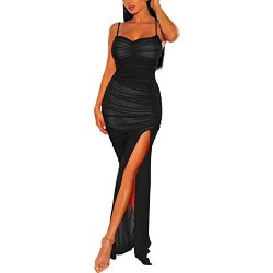 Long Cami Dress, Cosics Ruched Bodycon Solid Black Mesh Dress, Spaghetti Strap Maxi Dress with Slit for Cocktail Party