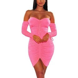 Blush Pink Dress, Cosics Long Sleeve Bodycon Tight Homecoming Dresses, Cute Club Outfits for Women