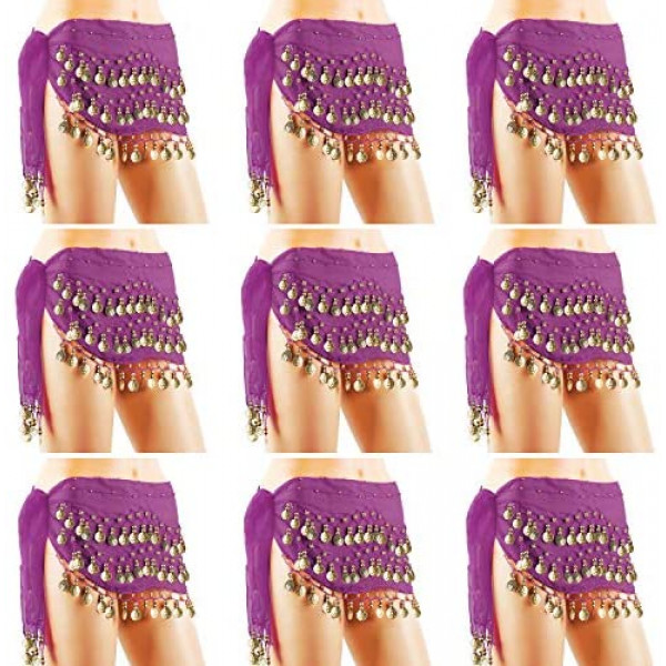 Belly Dance Belt, Cosics 10pcs Solid Purple Belly Dancing Costume for Women, Gold Coins Hip Scarf Skirt, Chiffon Tribal Gypsy Waist Chain